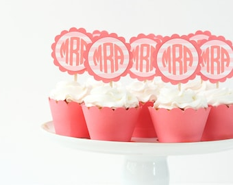 Monogram Cupcake Toppers Pink and Coral Birthday Preppy Party Supplies Personalized Cake Topper Bridal Shower Cupcake Toppers Girls Birthday