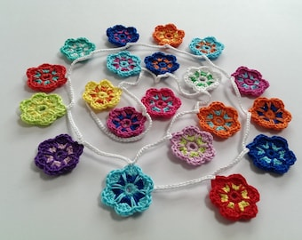 Crochet Garland Pattern with Flowers, Wallhanging, Bunting, Home Decor, Nursery Room, Keyring, Brooche, Hairclip