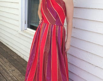 Red One Shoulder Gown Party Dress Gold Striped Prom Formal XS Vintage