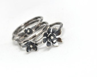 WILDFLOWER. Stacking Rings. Sterling Silver  (set of 5). YOUR SIZE.
