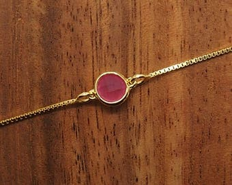Silver bracelet, fuchsia chalcedony bracelet, stone bracelet, gold bath, fine bracelet