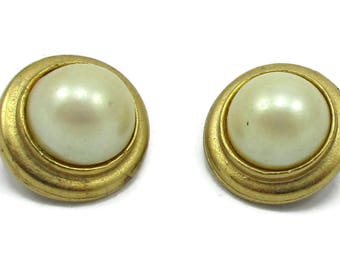 Pearl Gold Tone Earrings Post Earrings Mid Century Mod Vintage Estate Jewelry Gift Idea Designer Signed Runway