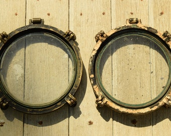 Antique pair of windows in bronze or brass / boat Collection & ship / Deco nautical / Maritime