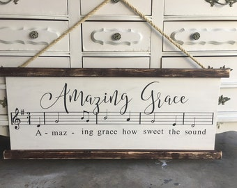 Amazing grace sheet music sign, faux scroll, ready to hang, 3 feet long, original one of a kind design, amazing grace wood sign