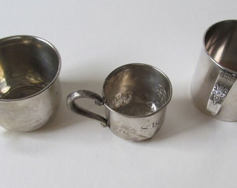 3 Antique Baby Cups, Two Sterling Silver, One Engraved S.K., One WA Rogers, Harmony