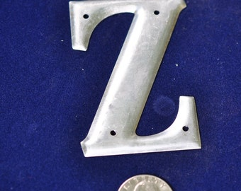 One Vintage Three-Inch Aluminum Letter Z  SHIPPING INCLUDED