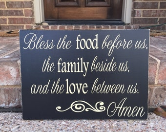 Bless The Food Before Us Prayer Wooden Sign ~ Wood Kitchen Signs ~ Dining Room Decor ~ Kitchen Wall Art ~ Kitchen Decor ~ Bless The Family