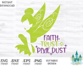 Tinkerbell Quote, Pixie Dust, Disney Inspired Cutting Files in Svg, Eps, Dxf and Png Formats