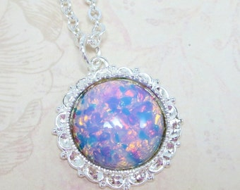 Pink Fire Opal Necklace Pendant Harlequin Opal Sterling Silver