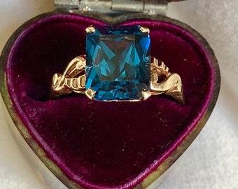 Estate London Blue Topaz Emerald Cut Solitaire Wedding Anniversary Engagement Ring 10K Gold Vintage