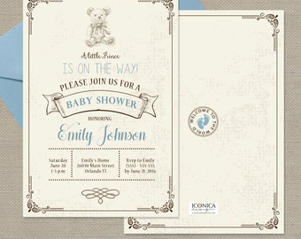 Teddy Bear Baby Shower Invitations Vintage Bear invite for Baby Shower Brown and Blue Baby Shower - Printed or Printable File Free Shipping