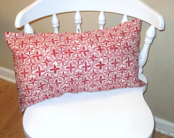 Red and White 12 X 20  Decorative Pillow Cover/ lumbar pillow/ Cottage pillow/ Home Decor