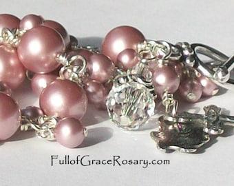 Pink Pearl Rosary Bracelet Sterling Silver Swarovski Crystal