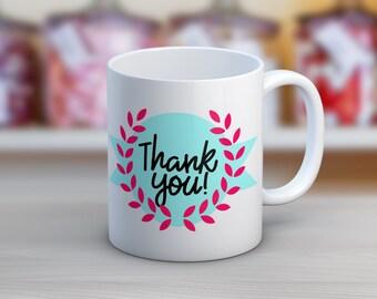 Thank You Hand Lettering Ceramic Coffee Mug