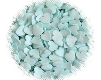Light Aqua Heart Sprinkles, Aqua Heart Quins, Aqua Heart Sequins, Light Aqua Sprinkles, Edible Sprinkles, Wedding Sprinkles