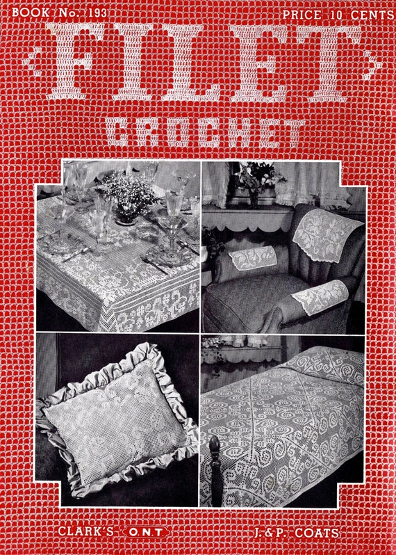 Vintage filet crochet patterns mid century tablecloths vintage filet crochet patterns mid century tablecloths luncheon sets bedspreads doilies spool cotton company 40s filet crochet lace dt1010fo