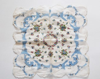 Vintage White and Blue Floral Handkerchief with Ballerinas- 1950s