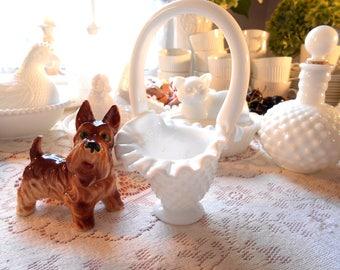 Fenton White Basket Small 1970's White Milk Glass Hobnail Basket Marked Fenton Vintage Fenton Basket Glass Basket Milk Glass Hobnail White