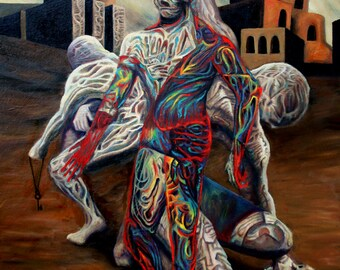 Dissection of Man - Original Surreal Oil Painting by Frank Heiler