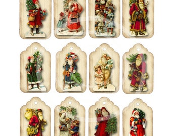 Vintage Victorian Santas Gift Tags, Twelve Christmas Images, Digital Download, Old Fashioned Father Christmas,  Red Holiday decor