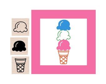 Mini Ice Cream Rubber Stamp set