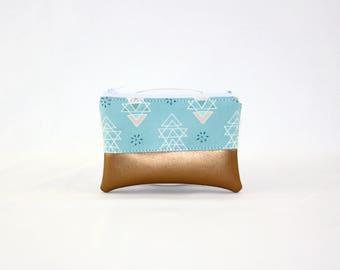 Mini bag - copper ethnic, bag, cosmetic bag, purse, make-up bag, vegan, minimalist, pouch, pencil case,