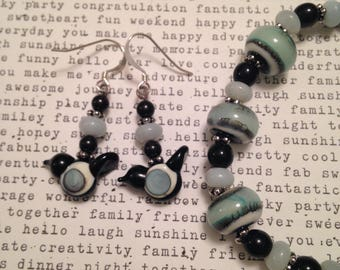 SET or individual... Black white and seafoam green Artisan made glass bird and amazonite gemstone bead dangle earrings and stretch bracelet