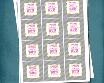 Bun in the Oven Favor Tags or Stickers by Tipsy Graphics. Any colors, text & size.