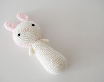 Pale pink & white Bunny, crocheted toy, amigurumi, ready to ship