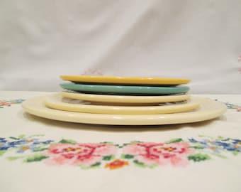 Vintage Fiestaware Dinner Plate, Salad Plate, Dessert Plate, Old Ivory/Cream, Antique Gold