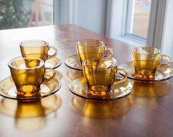 Vintage 6 cups Amber Glass - Bormioli Vitrosax Glass Coffee or Tea