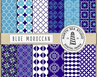 Moroccan Digital Paper, Moroccan Tiles Scrapbook Backgrounds, Blue Ornamental Patterns, Ethnic Digital Paper, Coupon Code: BUY5FOR8