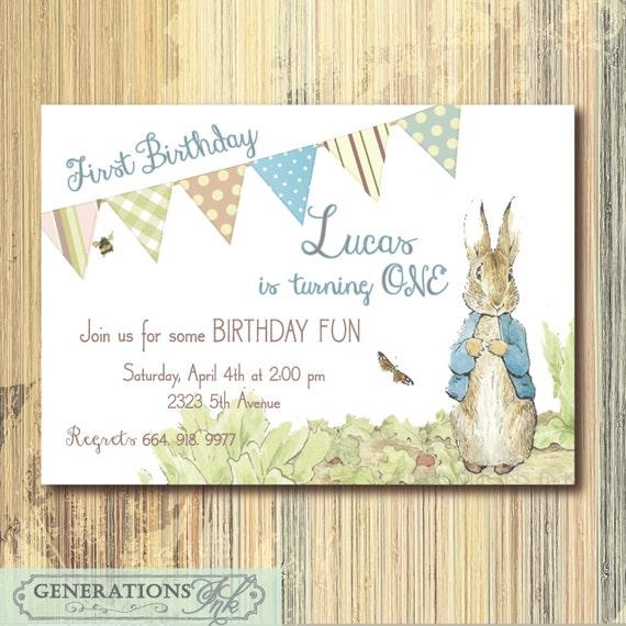 Vintage Peter Rabbit Birthday Invitation printableDigital