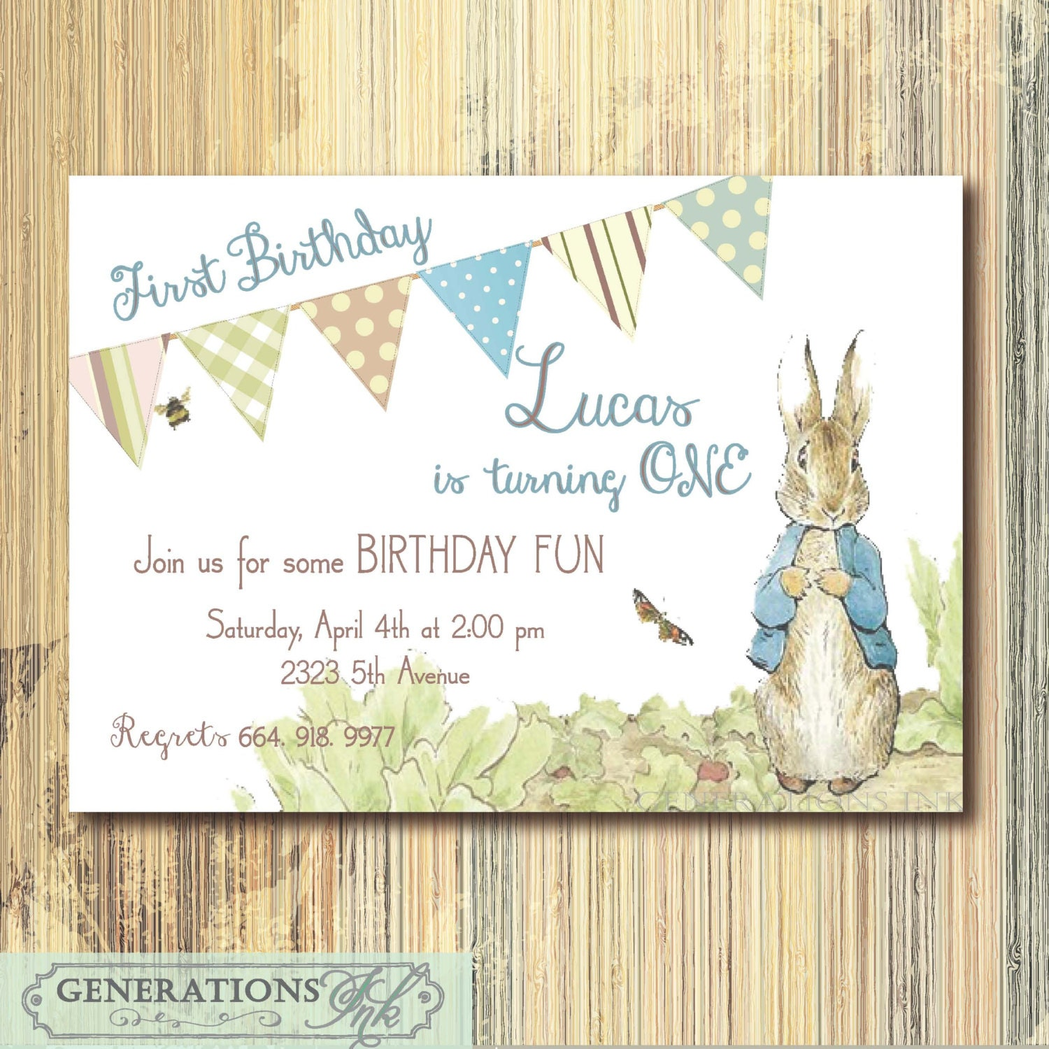 Vintage Peter Rabbit Birthday Invitation Printable Digital