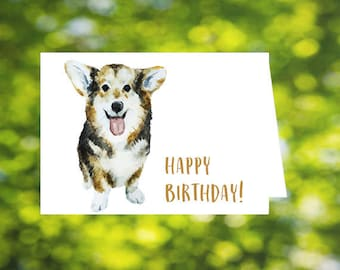 Dog Birthday Card: Corgi Birthday Card - Printable Corgi Card - Corgis - Download - Happy Birthday Card - Dogs - Birthday Card for Dog