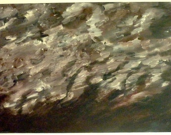 """Scattered Ash, Original Acrylic Abstract Painting, 24x12"""""""