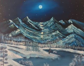 Majestic Moonlit Mountains - oil painting 40 x 40 inches canvas (Nature, Landscape)