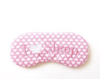 I Love Sleep sleep mask with adjustable elastic