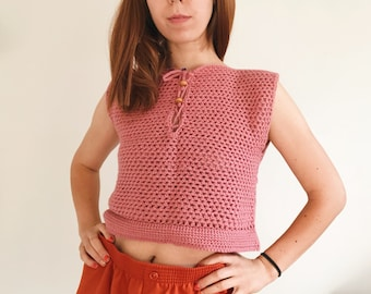 90s Small blush pink handmade crochet cropped top