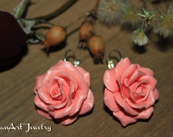 Rose earrings, Polymer clay earrings, Floral jewelry, Polymer clay jewelry. Floral earrings, Polymer clay Rose earrings. Gift for Woman