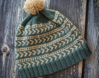 Hand Knit Adult Fairisle Pom Pom Hat - Luxury Cashmerino - Teal & Cream