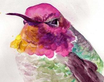 Hummingbird watercolor, bird watercolor, hummingbird art, bird art print by Paula Prass, available in 5x5, 6x6 or 8x8 fine art print