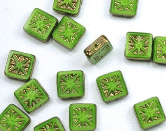 Satiny Opaque Green Fancy Square Bronze Picasso Czech Glass Beads 11mm - 15