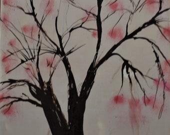 Cherry Blossoms Encaustic Painting