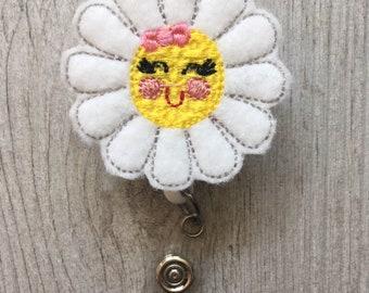 Daisy  Badge Reel - Daisy Badge Reel Feltie - Interchangeable Badge Reel - Retractable Badge Reel - Summer badge Reel