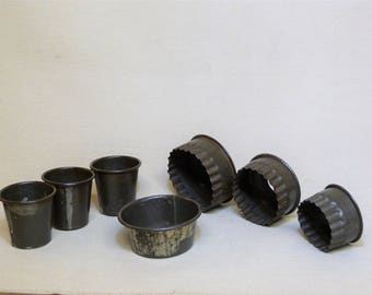 Vintage Pastry Cutters and English Coconut Madeleine Tins, Metal Pastry Cutters, Old Pastry Cutters, Retro Kitchen
