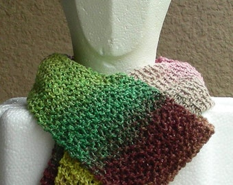 Scarf Multicolored pink green beige brown hand knit Ripple Wave.  Pink green beige brown long scarf in a cotton rayon silk blend.