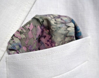 Pocket Square , Muted Colors of Blue, Purple Green , Mens  Cotton Handkerchief , Hand Rolled , Groomsmen , Suit Accessories