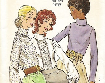 Vntg Butterick 6074 Misses Turtleneck Top Pattern, Blouse With Bias Turnover Collar, Size 12, Bust 34, UNCUT