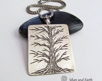 Sterling Silver Tree Necklace, Tree of Life Jewelry, Solid Silver Jewelry, Handmade Artisan Nature Jewelry, Nature Gift, Unisex Mens Jewelry